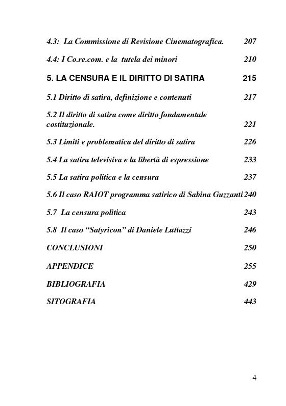 Indice della tesi: La censura nel sistema cinematografico e televisivo. Aspetti legislativi, sociali e giuridici., Pagina 3