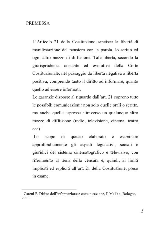 Anteprima della tesi: La censura nel sistema cinematografico e televisivo. Aspetti legislativi, sociali e giuridici., Pagina 1