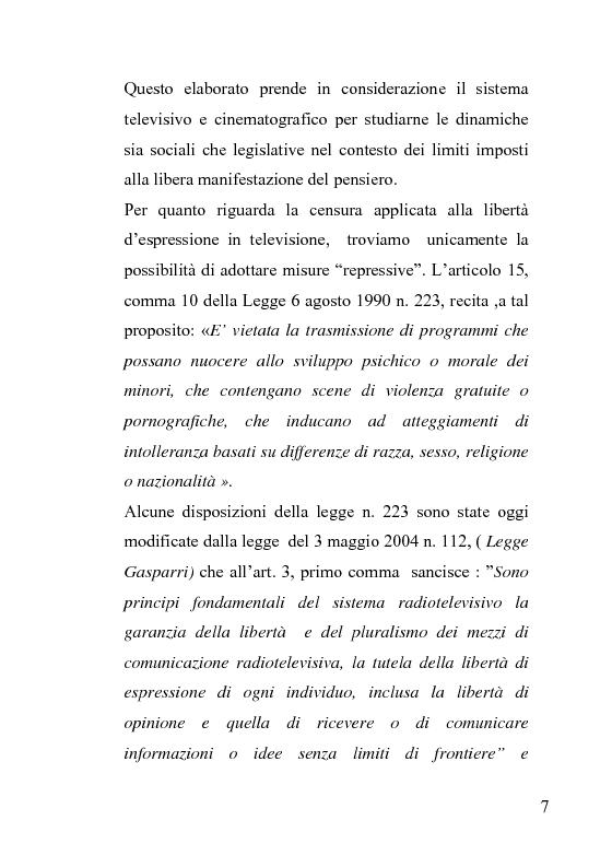 Anteprima della tesi: La censura nel sistema cinematografico e televisivo. Aspetti legislativi, sociali e giuridici., Pagina 3