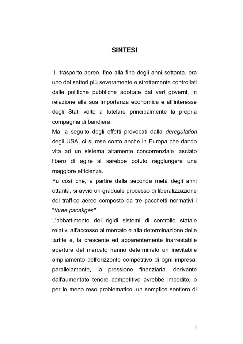 Anteprima della tesi: I processi di liberalizzazione e le alleanze strategiche nel settore aereo, Pagina 1
