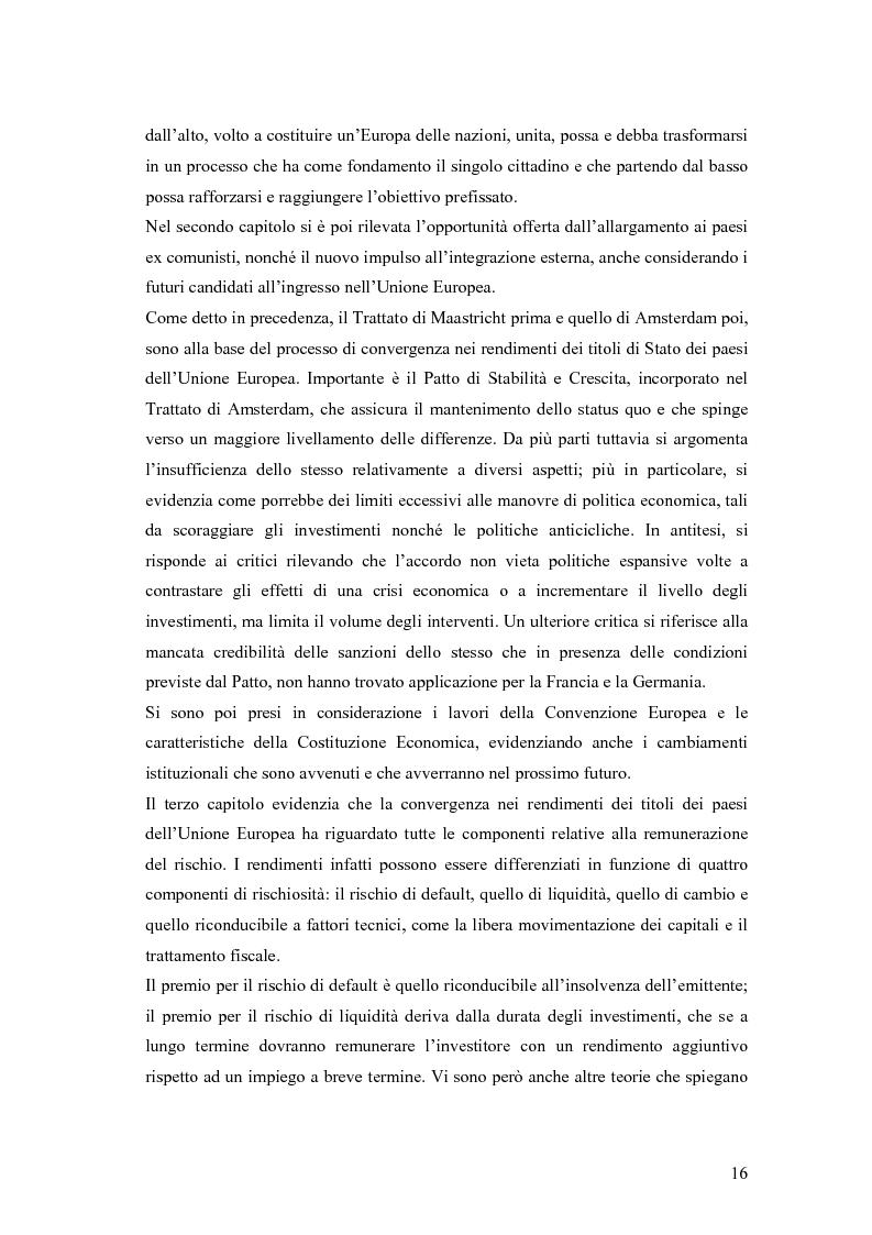 Anteprima della tesi: Event-Study and Econometrics Model of government bonds in European Union., Pagina 4