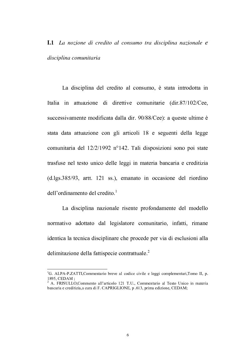 Anteprima della tesi: Il credito al consumo: La fattispecie, Pagina 1