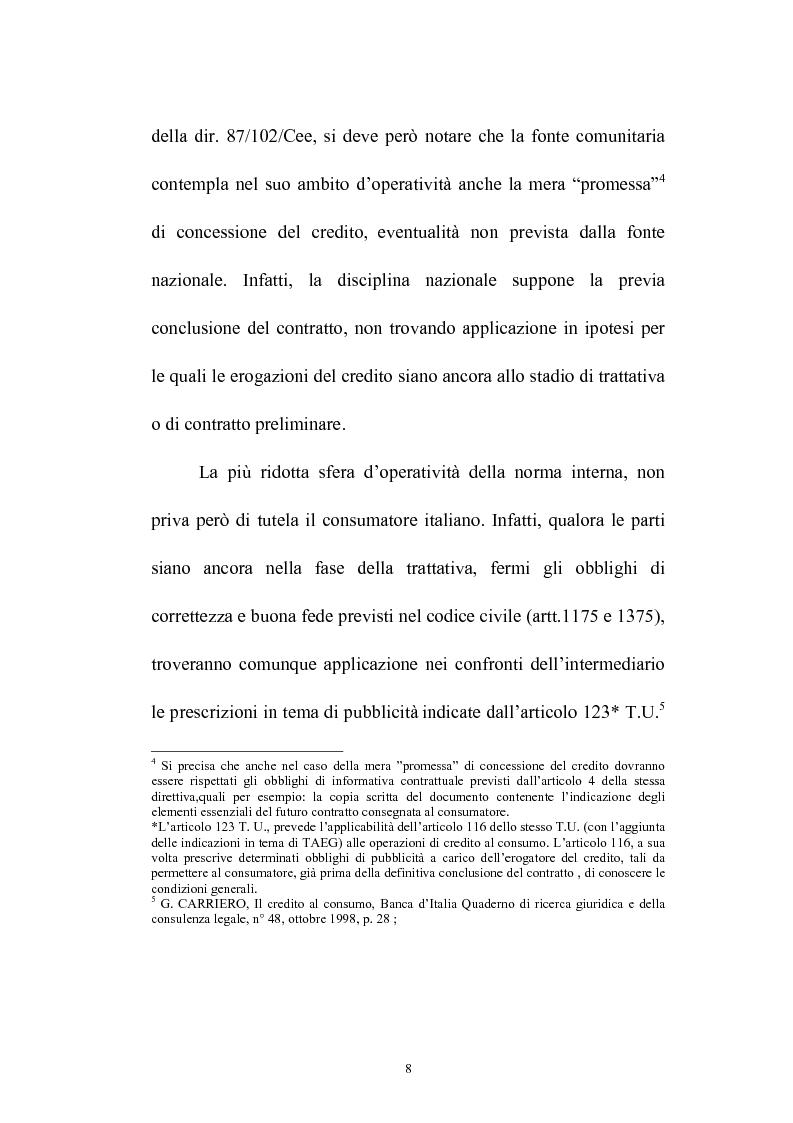 Anteprima della tesi: Il credito al consumo: La fattispecie, Pagina 3