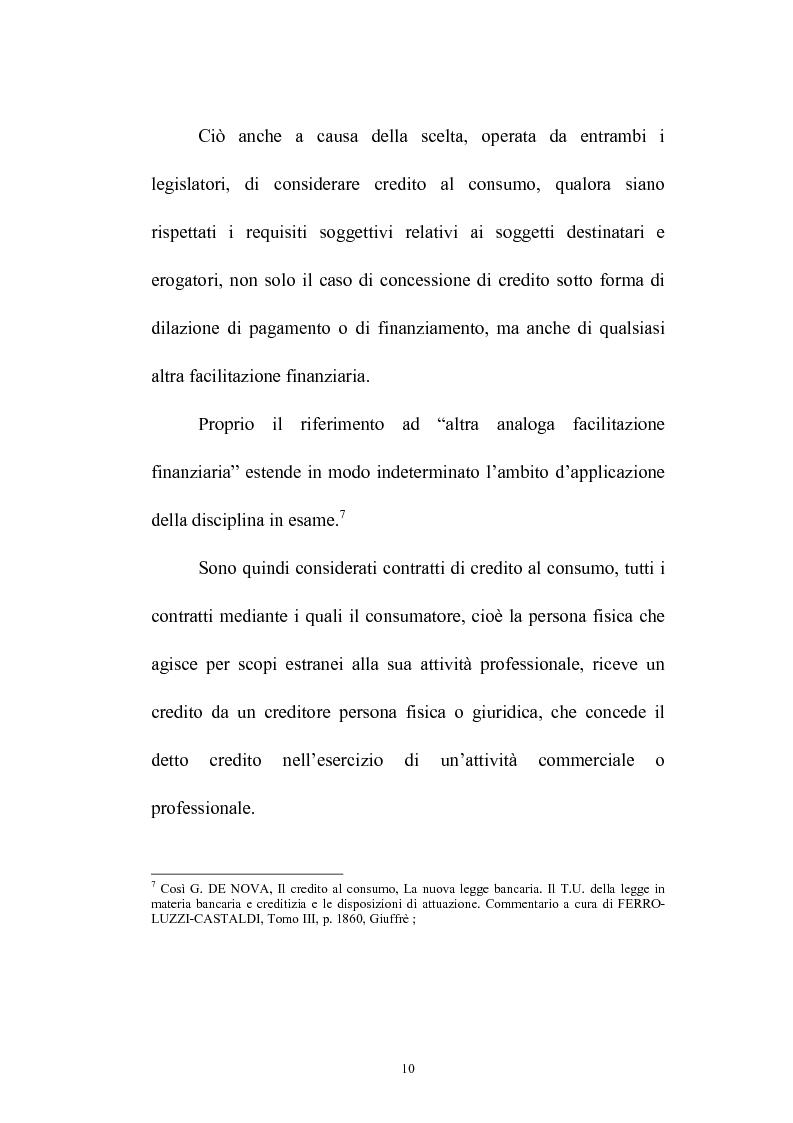 Anteprima della tesi: Il credito al consumo: La fattispecie, Pagina 5