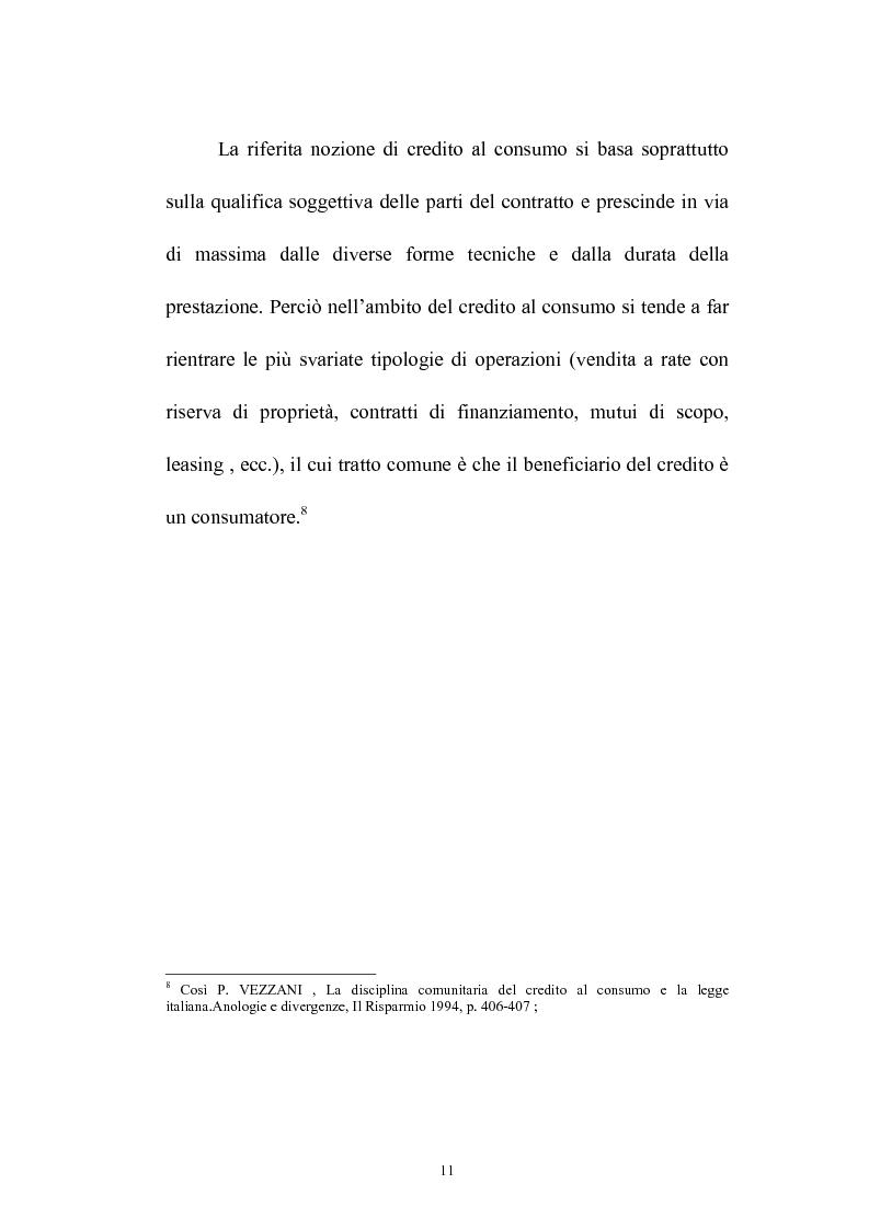 Anteprima della tesi: Il credito al consumo: La fattispecie, Pagina 6