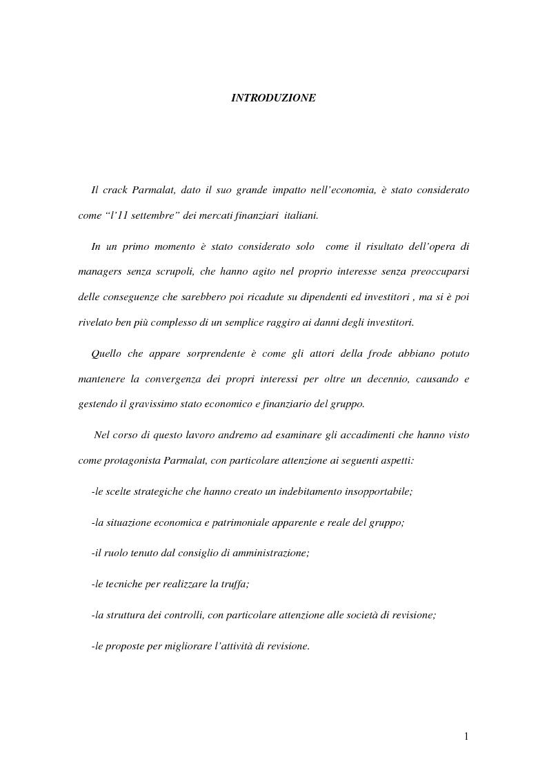 Anteprima della tesi: Il crack Parmalat: una truffa agevolata dal conflitto di interessi degli organi di controllo, Pagina 1