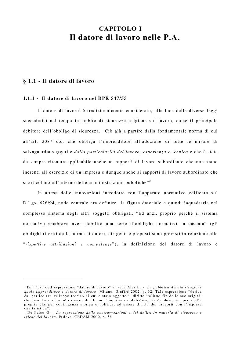 Anteprima della tesi: I responsabili dell'obbligo di sicurezza nella P.A., Pagina 1