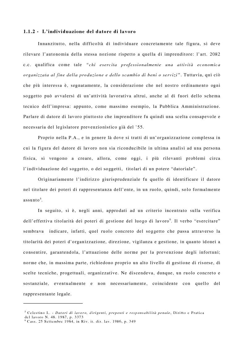 Anteprima della tesi: I responsabili dell'obbligo di sicurezza nella P.A., Pagina 3