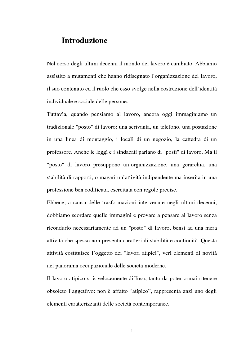 Anteprima della tesi: Il lavoro flessibile: progresso o recessione? Ricerca empirica nel territorio comasco., Pagina 1