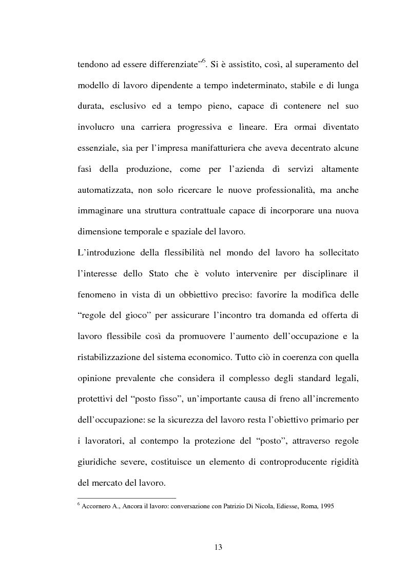 Anteprima della tesi: Il lavoro flessibile: progresso o recessione? Ricerca empirica nel territorio comasco., Pagina 13