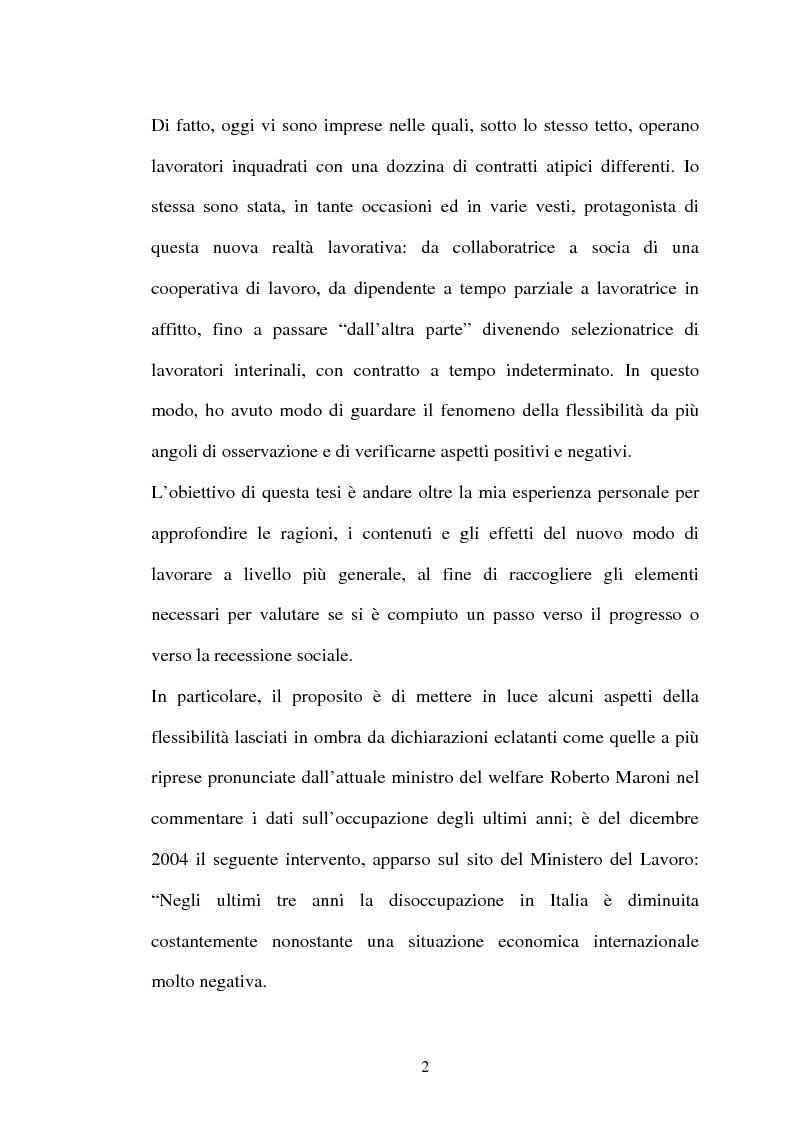 Anteprima della tesi: Il lavoro flessibile: progresso o recessione? Ricerca empirica nel territorio comasco., Pagina 2