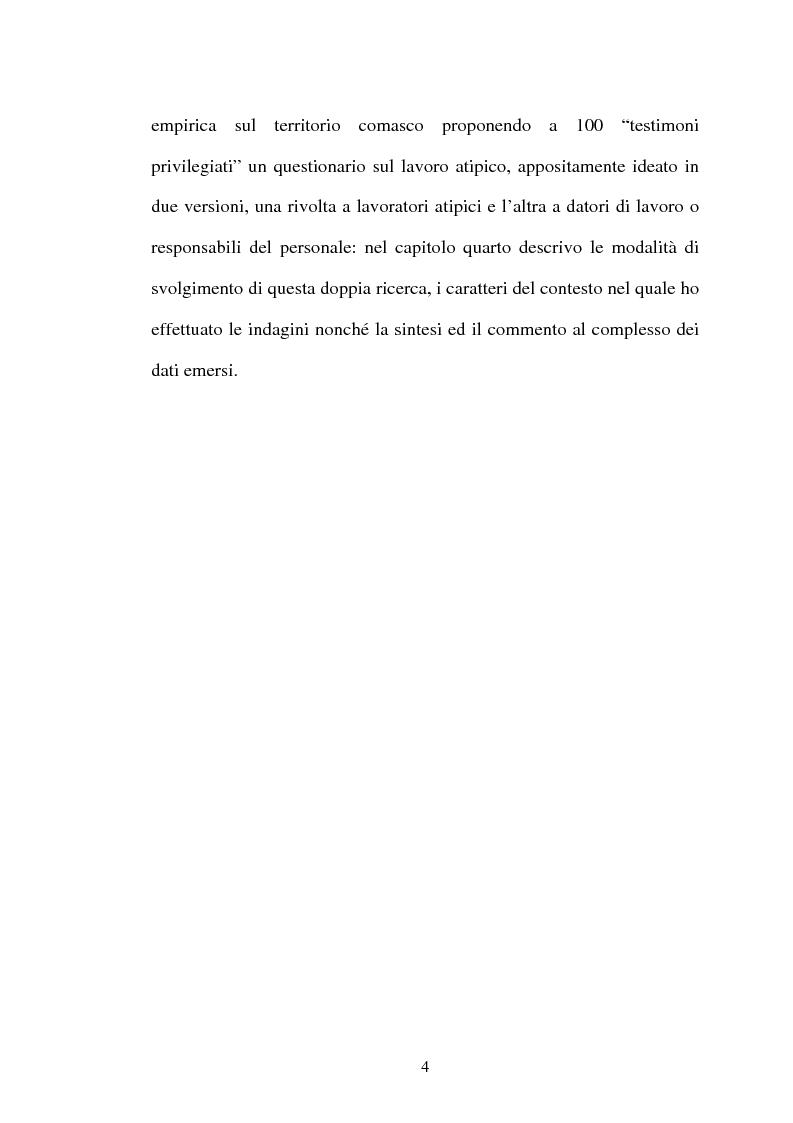 Anteprima della tesi: Il lavoro flessibile: progresso o recessione? Ricerca empirica nel territorio comasco., Pagina 4