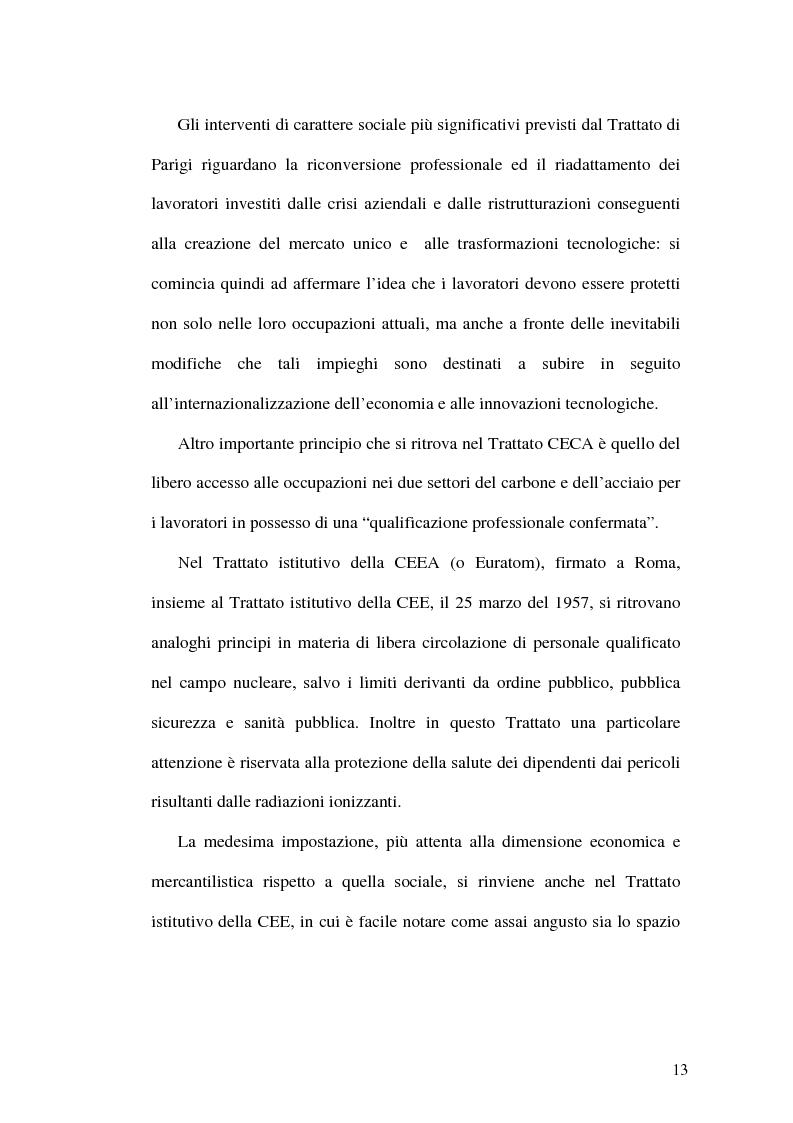 Anteprima della tesi: La tutela dei lavoratori contro i licenziamenti nell'Unione Europea e nel diritto comparato, Pagina 13