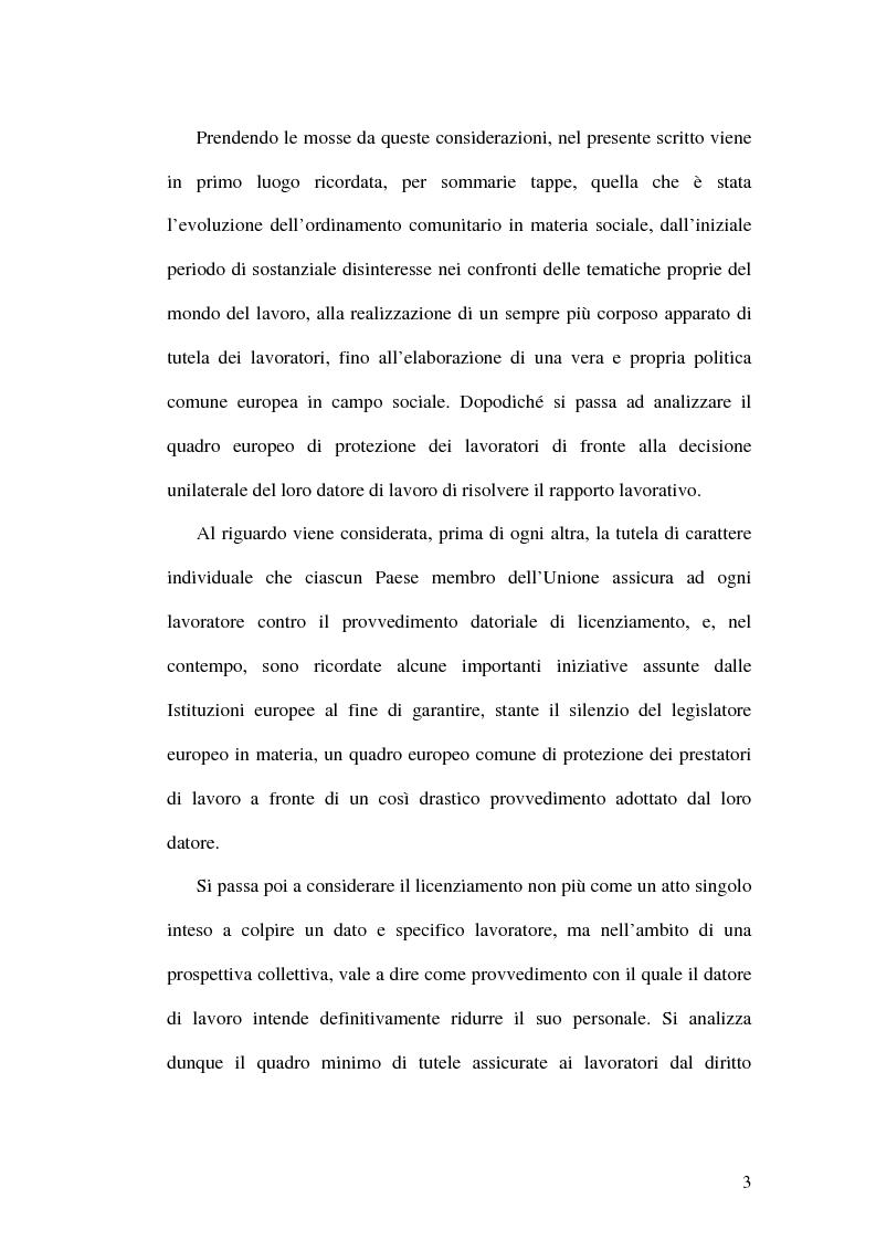 Anteprima della tesi: La tutela dei lavoratori contro i licenziamenti nell'Unione Europea e nel diritto comparato, Pagina 3
