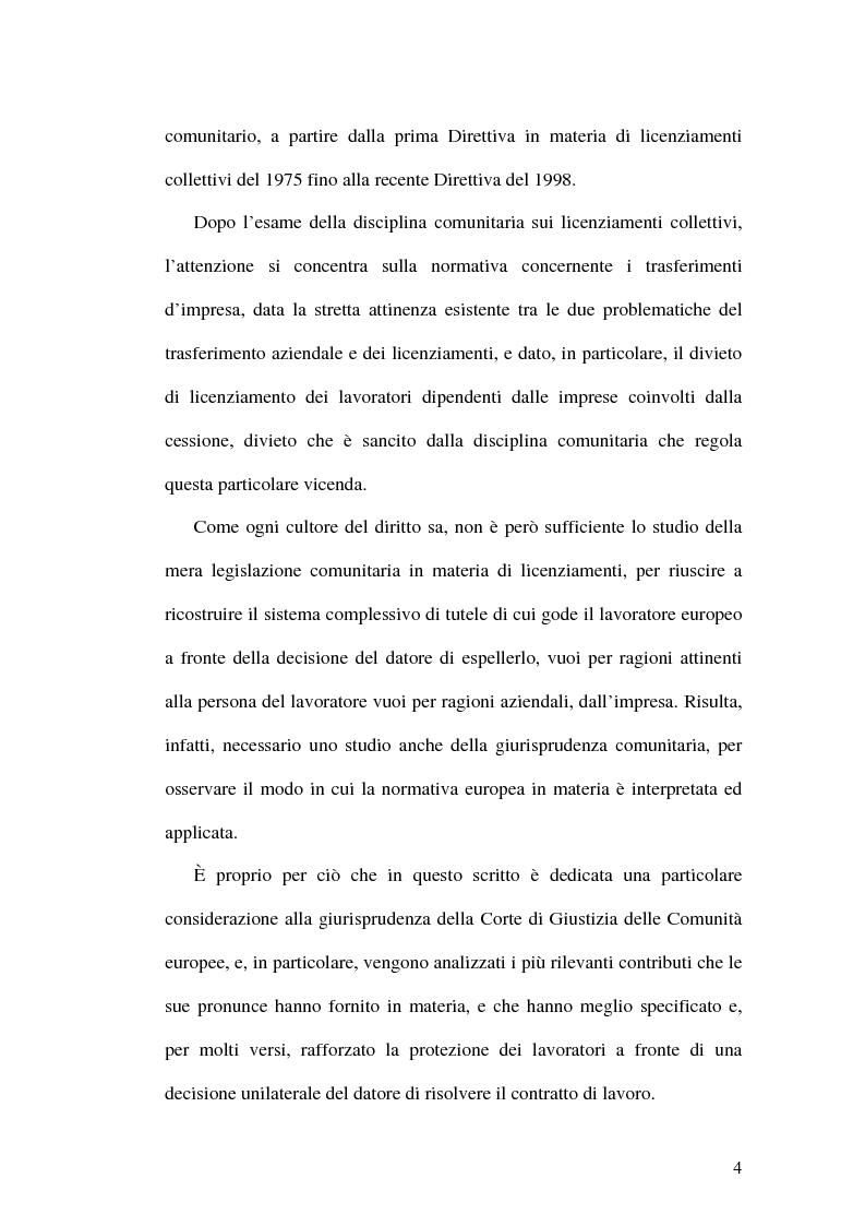 Anteprima della tesi: La tutela dei lavoratori contro i licenziamenti nell'Unione Europea e nel diritto comparato, Pagina 4