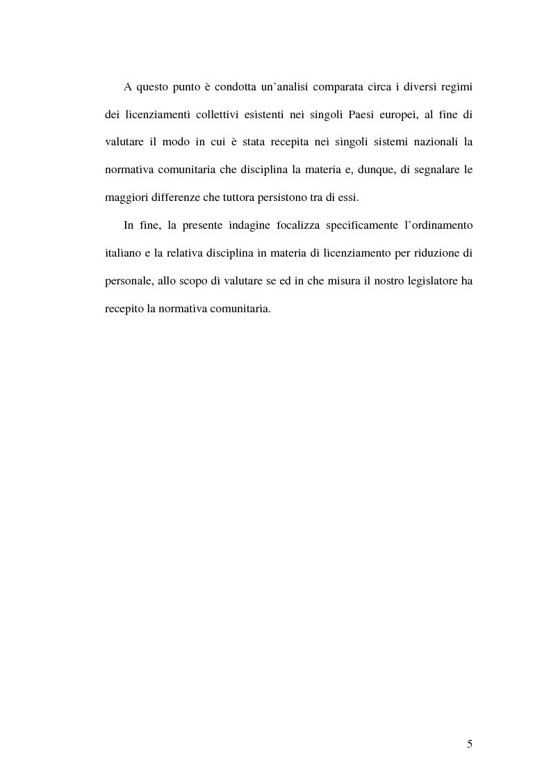 Anteprima della tesi: La tutela dei lavoratori contro i licenziamenti nell'Unione Europea e nel diritto comparato, Pagina 5
