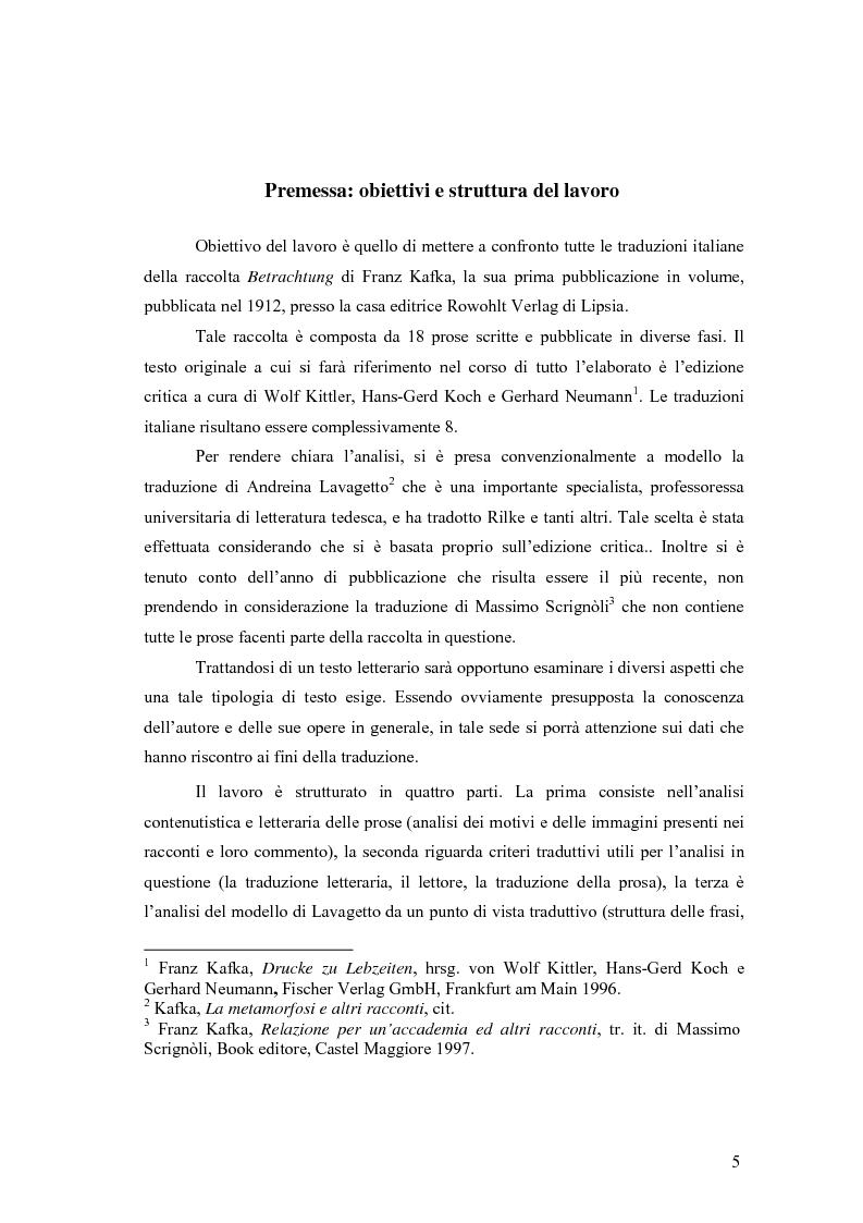 Anteprima della tesi: Betrachtung di Franz Kafka nelle traduzioni italiane, Pagina 1