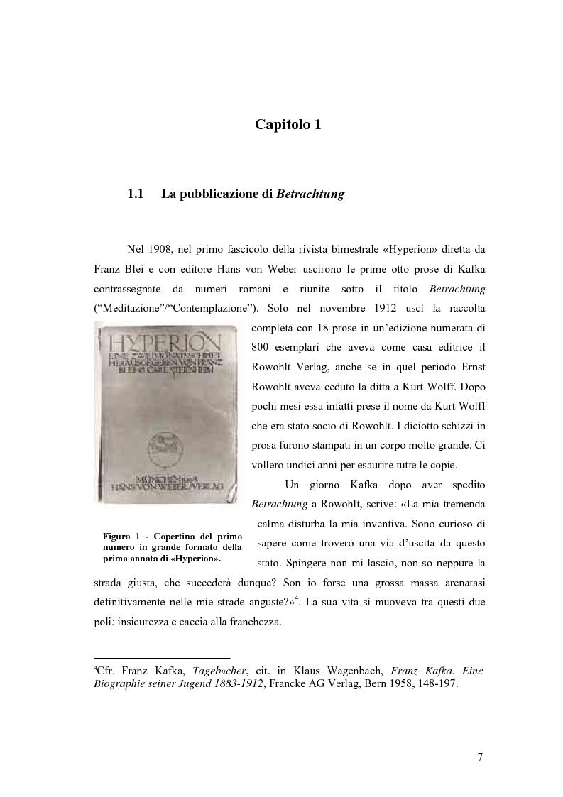 Anteprima della tesi: Betrachtung di Franz Kafka nelle traduzioni italiane, Pagina 3