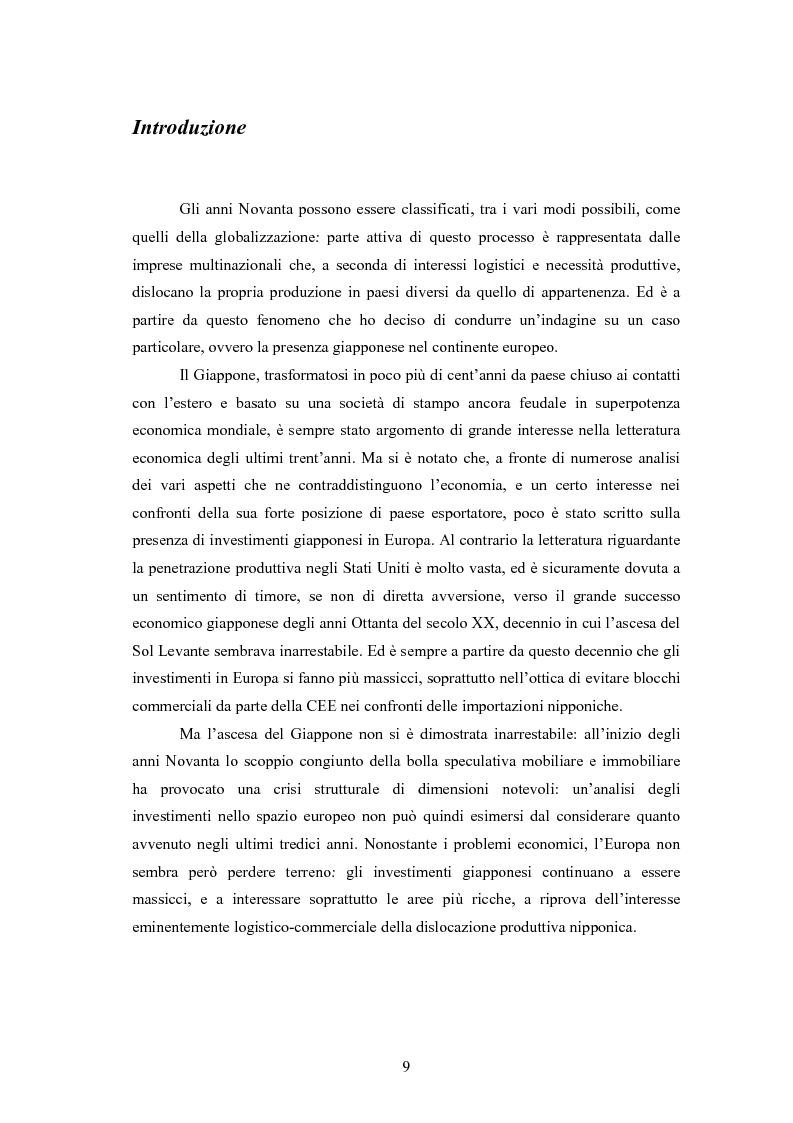Anteprima della tesi: Giappone: crisi strutturale dell'economia e investimenti diretti in Italia e in Europa, Pagina 1
