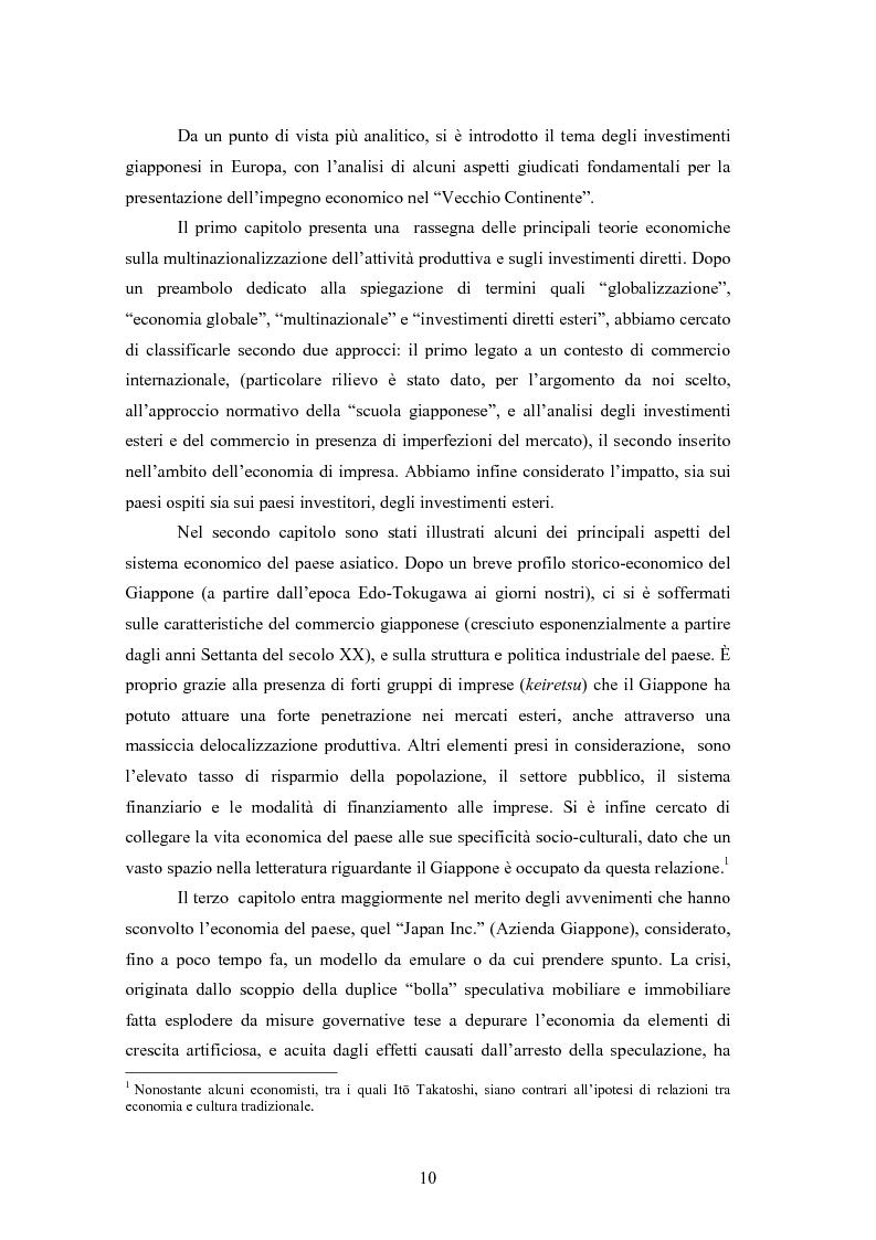 Anteprima della tesi: Giappone: crisi strutturale dell'economia e investimenti diretti in Italia e in Europa, Pagina 2