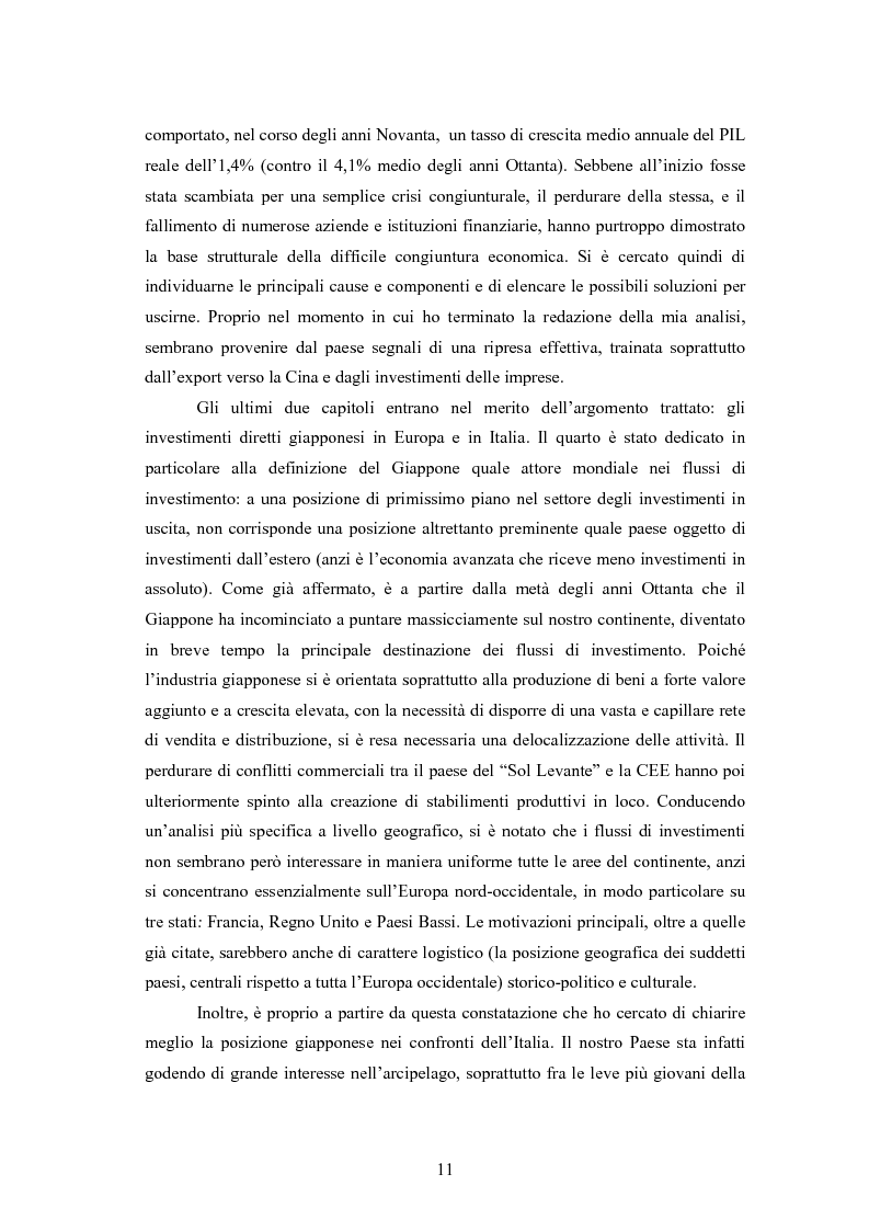 Anteprima della tesi: Giappone: crisi strutturale dell'economia e investimenti diretti in Italia e in Europa, Pagina 3