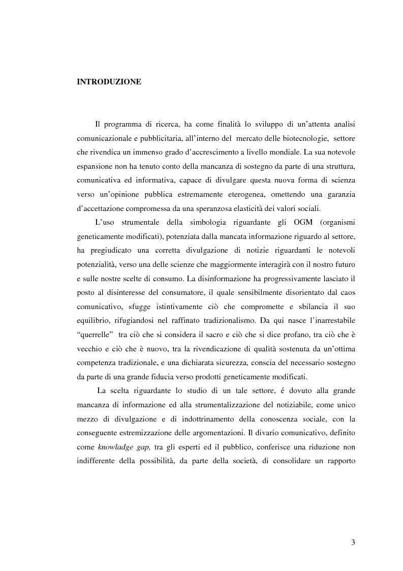 Anteprima della tesi: La comunicazione pubblicitaria nelle biotecnologie, Pagina 1