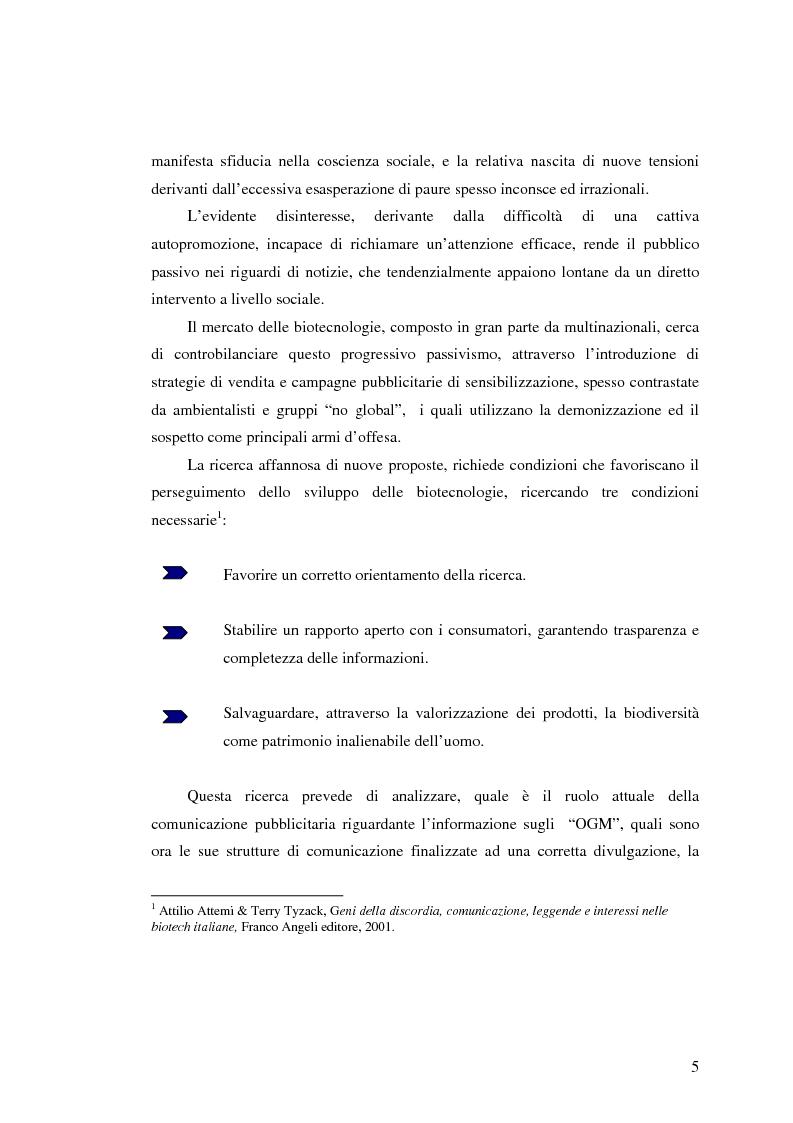 Anteprima della tesi: La comunicazione pubblicitaria nelle biotecnologie, Pagina 3