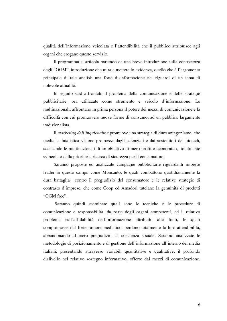 Anteprima della tesi: La comunicazione pubblicitaria nelle biotecnologie, Pagina 4