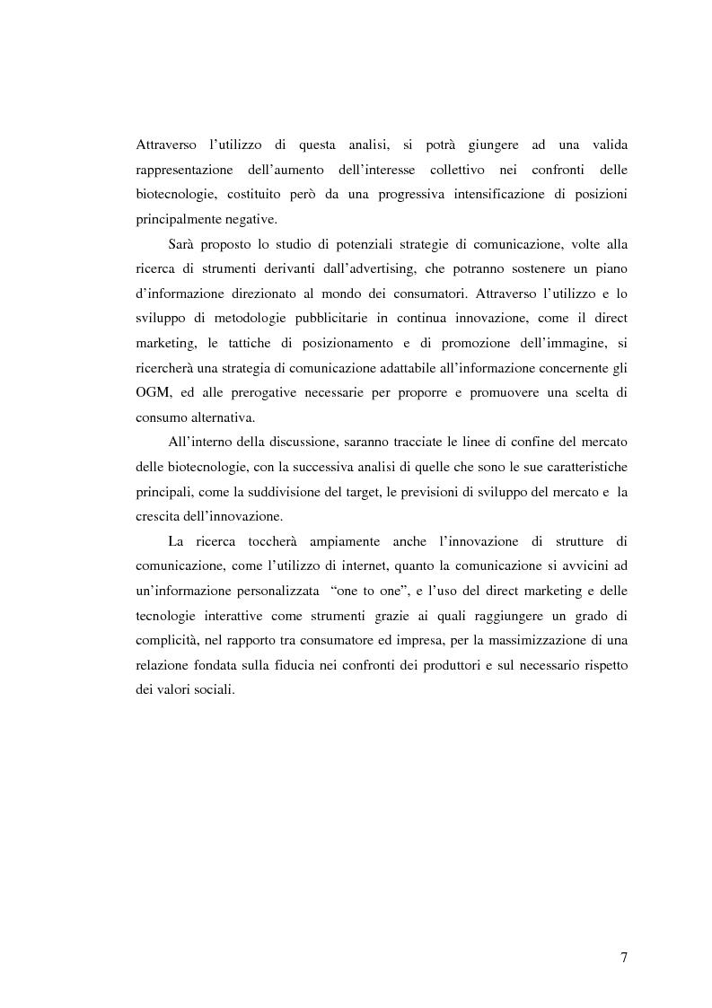 Anteprima della tesi: La comunicazione pubblicitaria nelle biotecnologie, Pagina 5