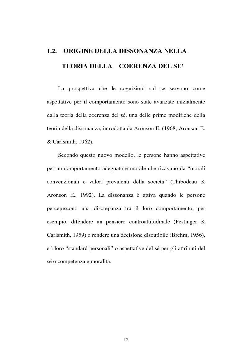 Anteprima della tesi: Dissonanza cognitiva e teorie del Sè. Modello del Sè Standard. Un contributo di ricerca, Pagina 10