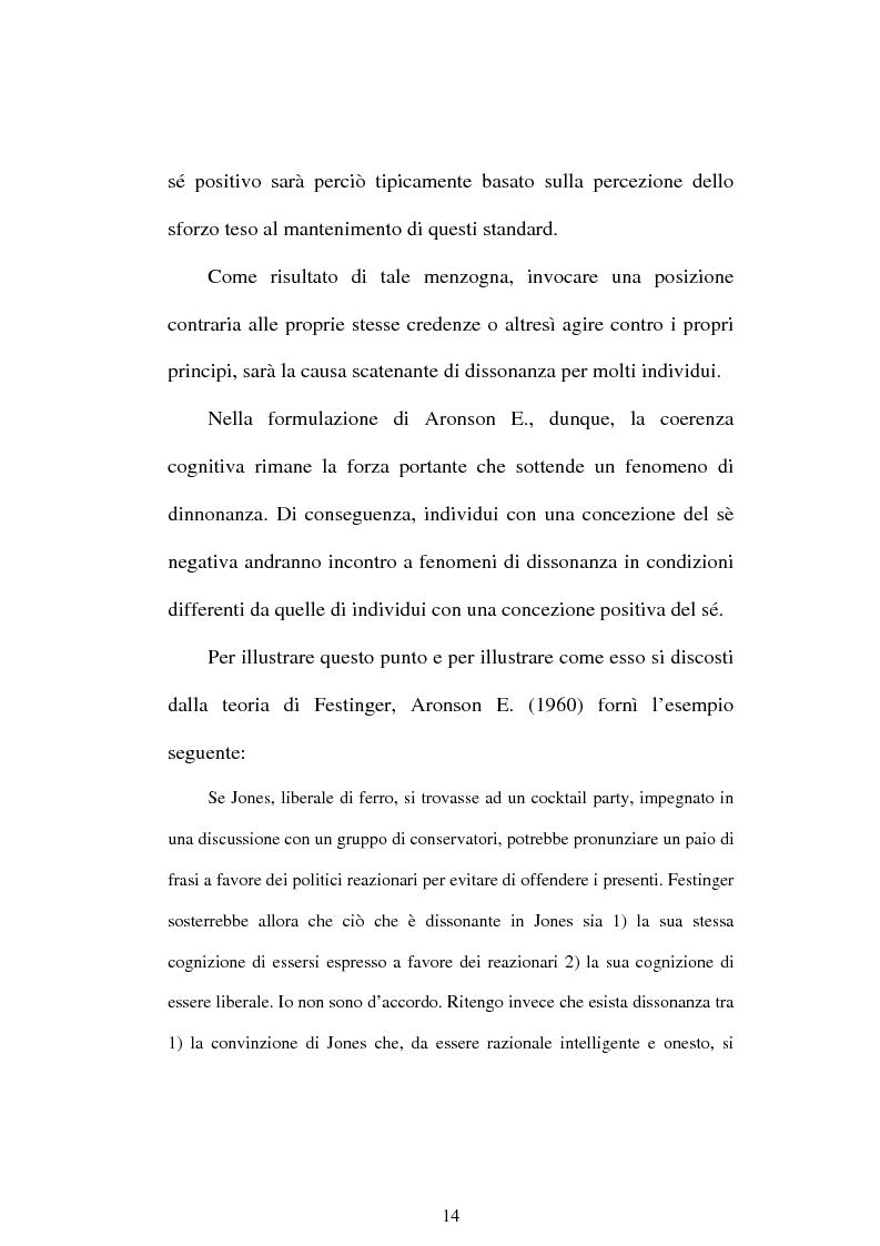 Anteprima della tesi: Dissonanza cognitiva e teorie del Sè. Modello del Sè Standard. Un contributo di ricerca, Pagina 12