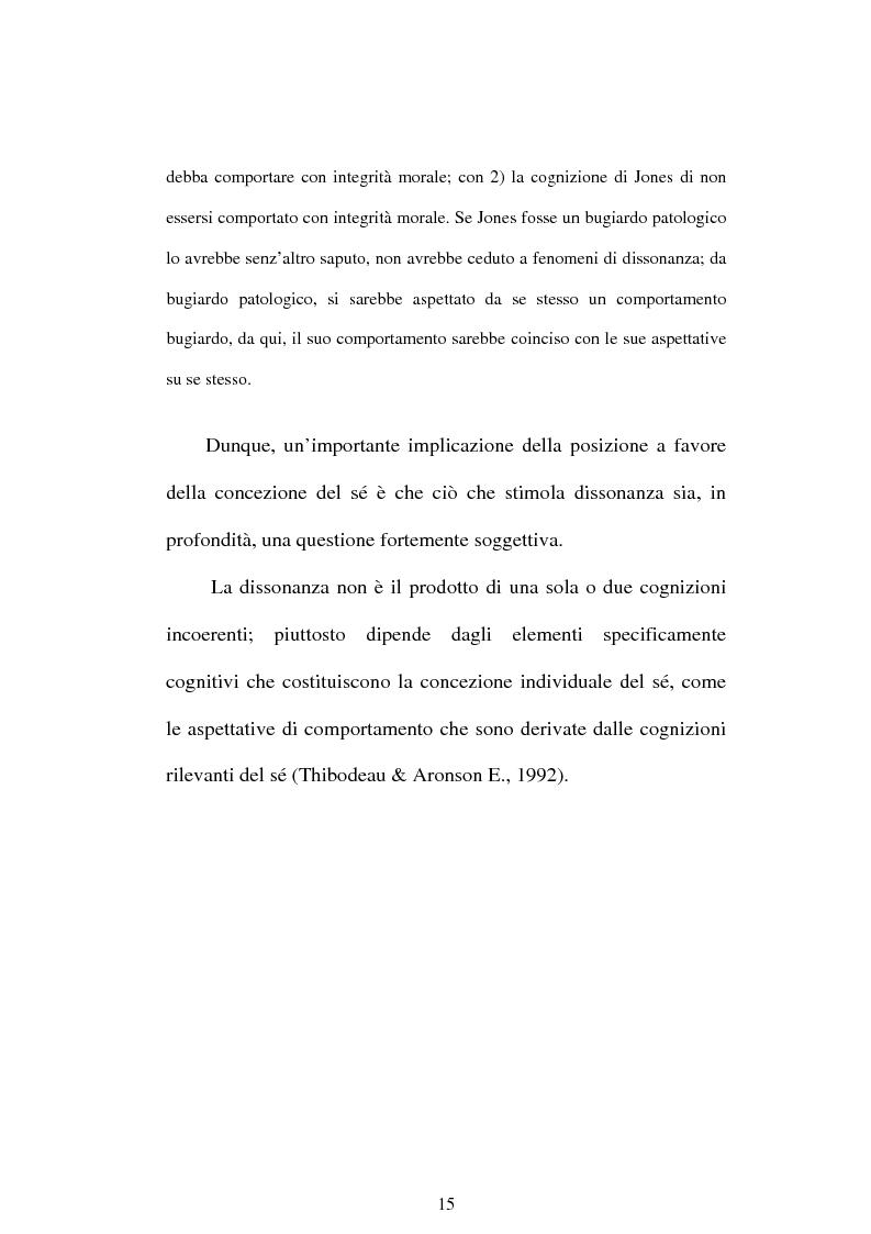 Anteprima della tesi: Dissonanza cognitiva e teorie del Sè. Modello del Sè Standard. Un contributo di ricerca, Pagina 13
