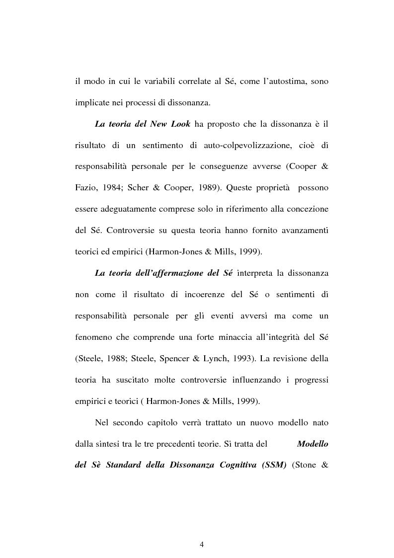 Anteprima della tesi: Dissonanza cognitiva e teorie del Sè. Modello del Sè Standard. Un contributo di ricerca, Pagina 2
