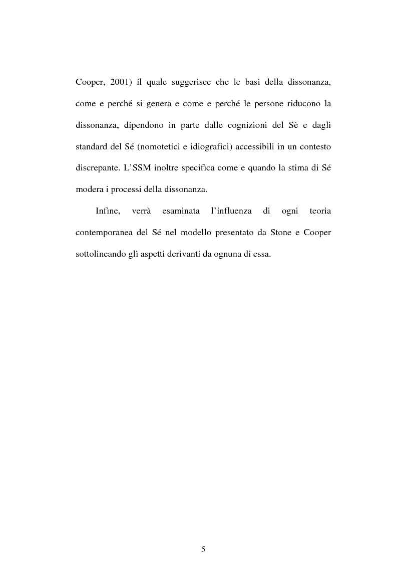 Anteprima della tesi: Dissonanza cognitiva e teorie del Sè. Modello del Sè Standard. Un contributo di ricerca, Pagina 3