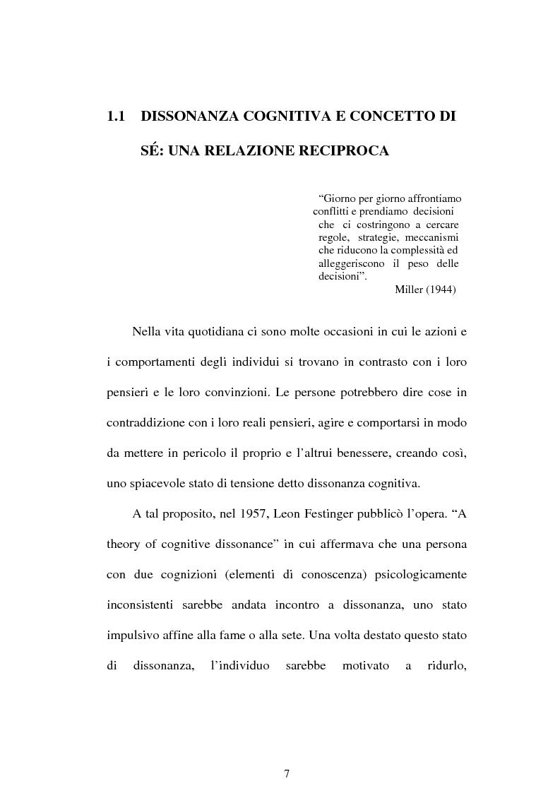 Anteprima della tesi: Dissonanza cognitiva e teorie del Sè. Modello del Sè Standard. Un contributo di ricerca, Pagina 5