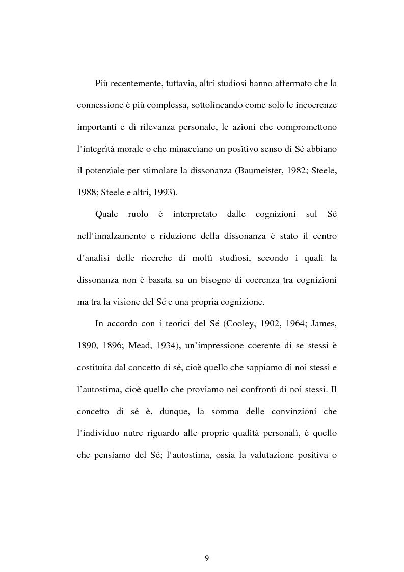 Anteprima della tesi: Dissonanza cognitiva e teorie del Sè. Modello del Sè Standard. Un contributo di ricerca, Pagina 7