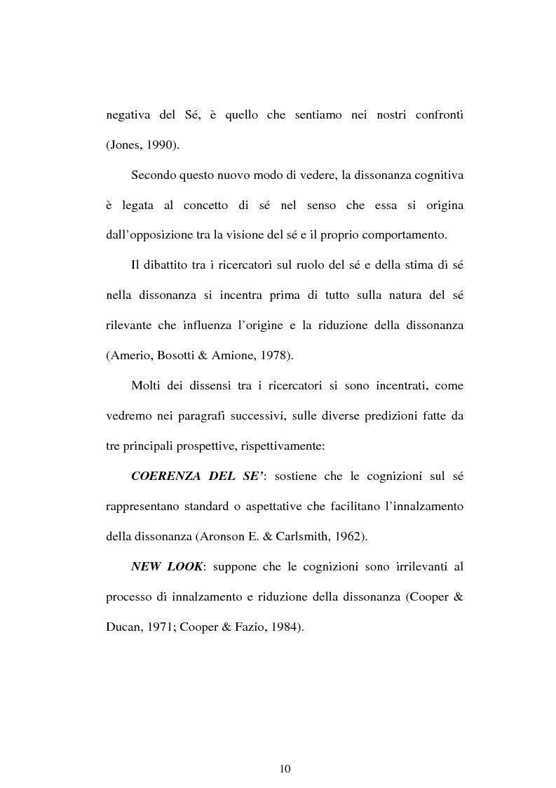 Anteprima della tesi: Dissonanza cognitiva e teorie del Sè. Modello del Sè Standard. Un contributo di ricerca, Pagina 8