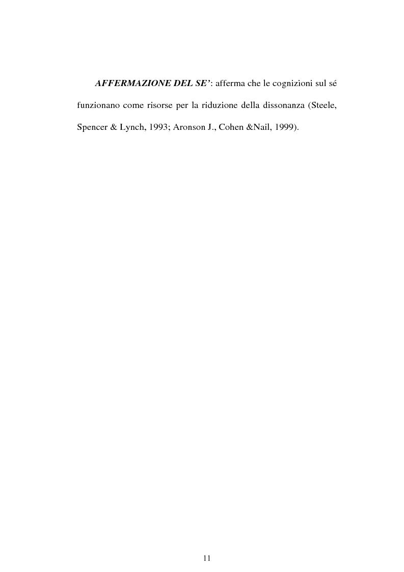Anteprima della tesi: Dissonanza cognitiva e teorie del Sè. Modello del Sè Standard. Un contributo di ricerca, Pagina 9
