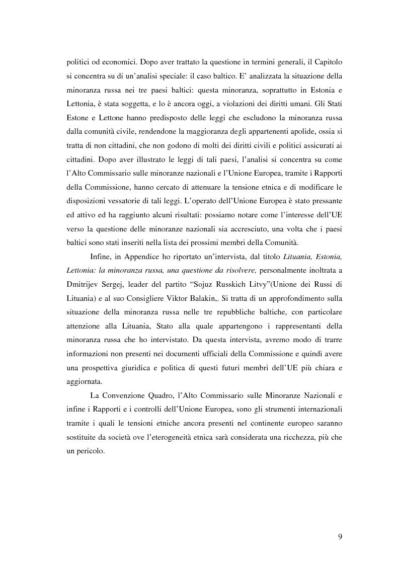 Anteprima della tesi: La tutela delle minoranze nazionali in Europa, Pagina 5