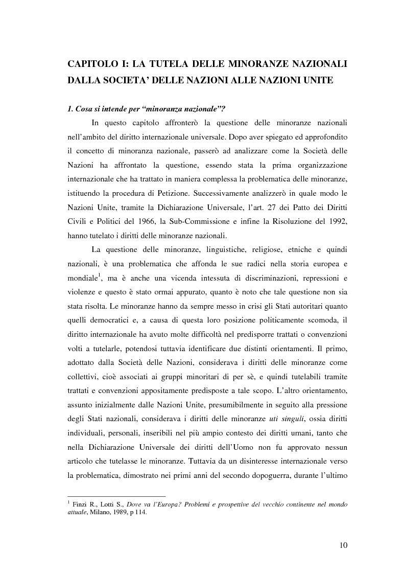 Anteprima della tesi: La tutela delle minoranze nazionali in Europa, Pagina 6