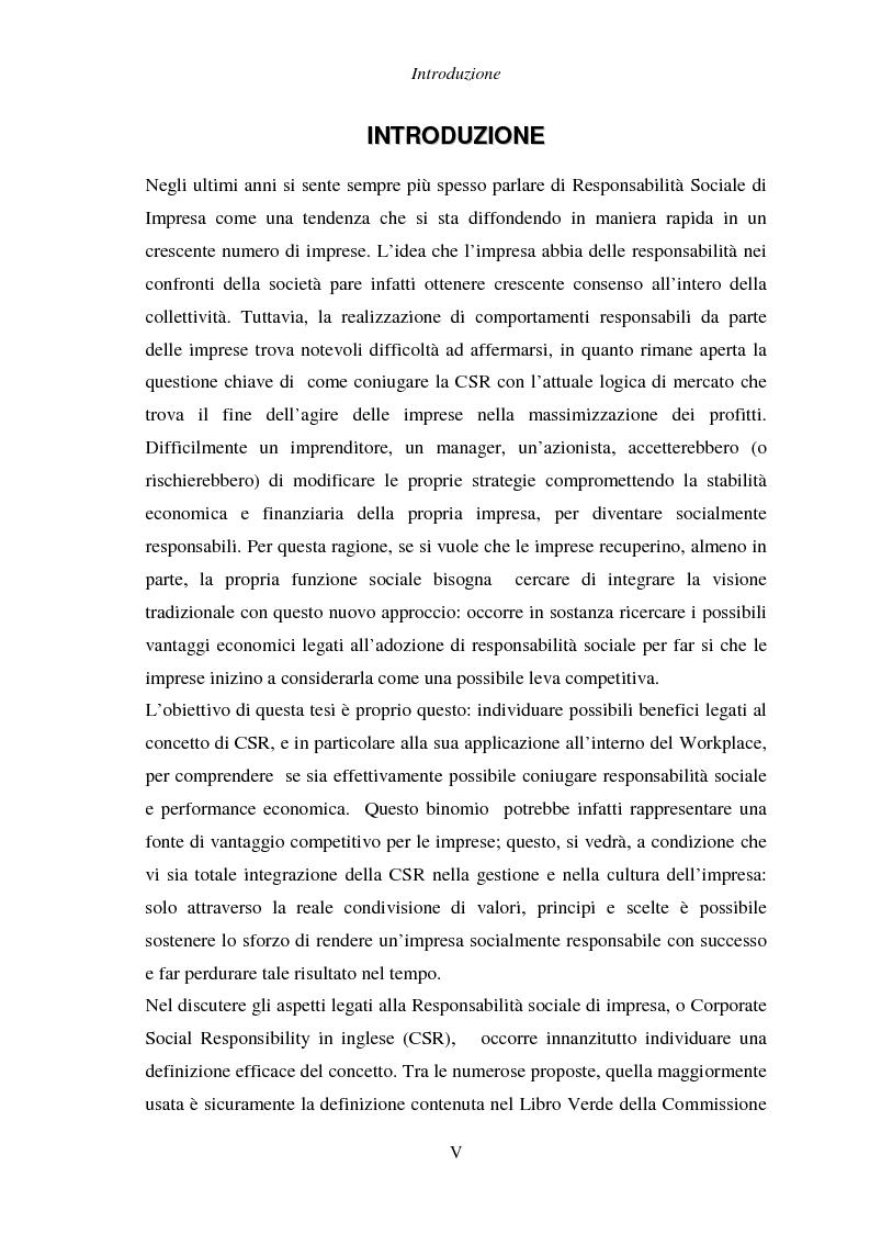 Anteprima della tesi: Responsabilità sociale di impresa e Workplace, Pagina 1