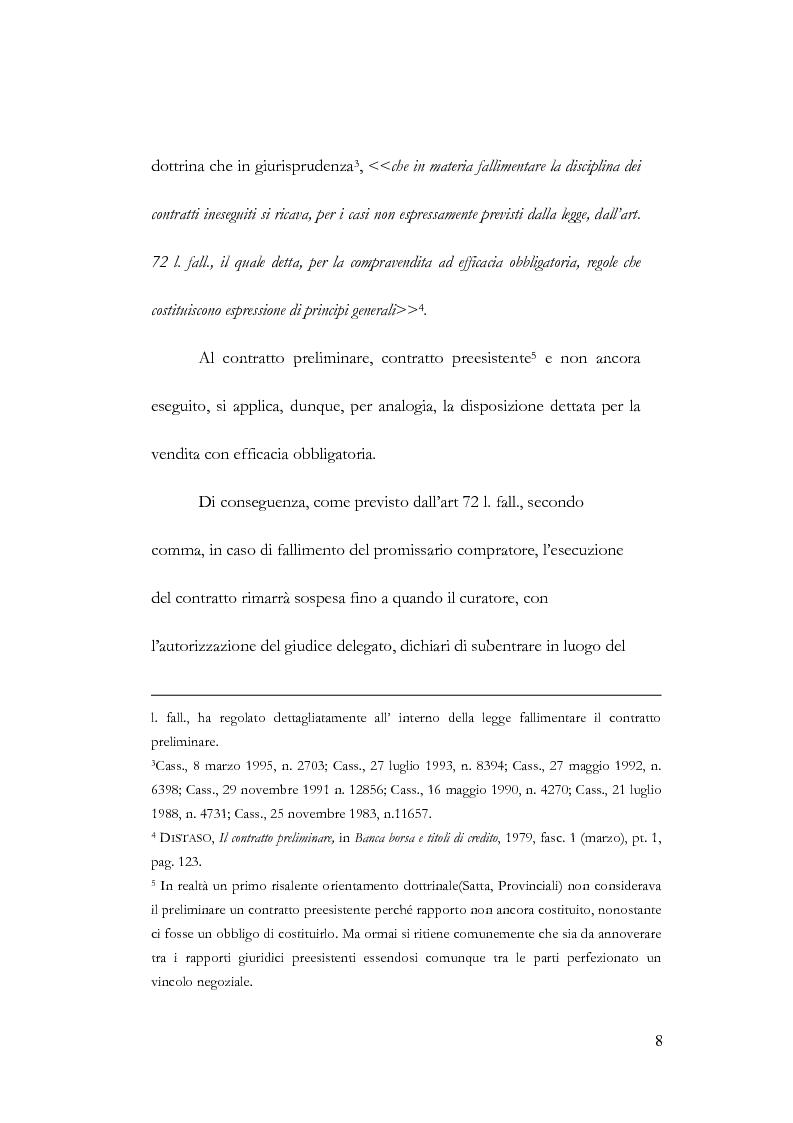 Anteprima della tesi: Fallimento e contratto preliminare, Pagina 4