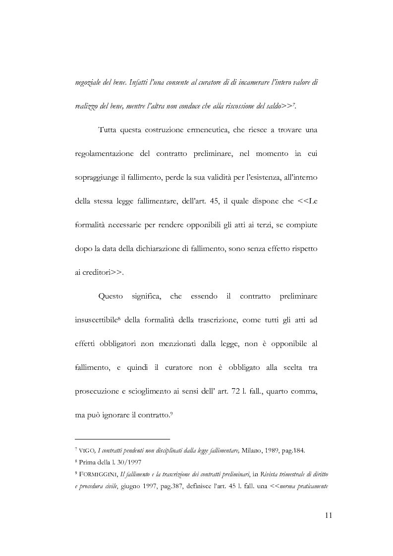 Anteprima della tesi: Fallimento e contratto preliminare, Pagina 7