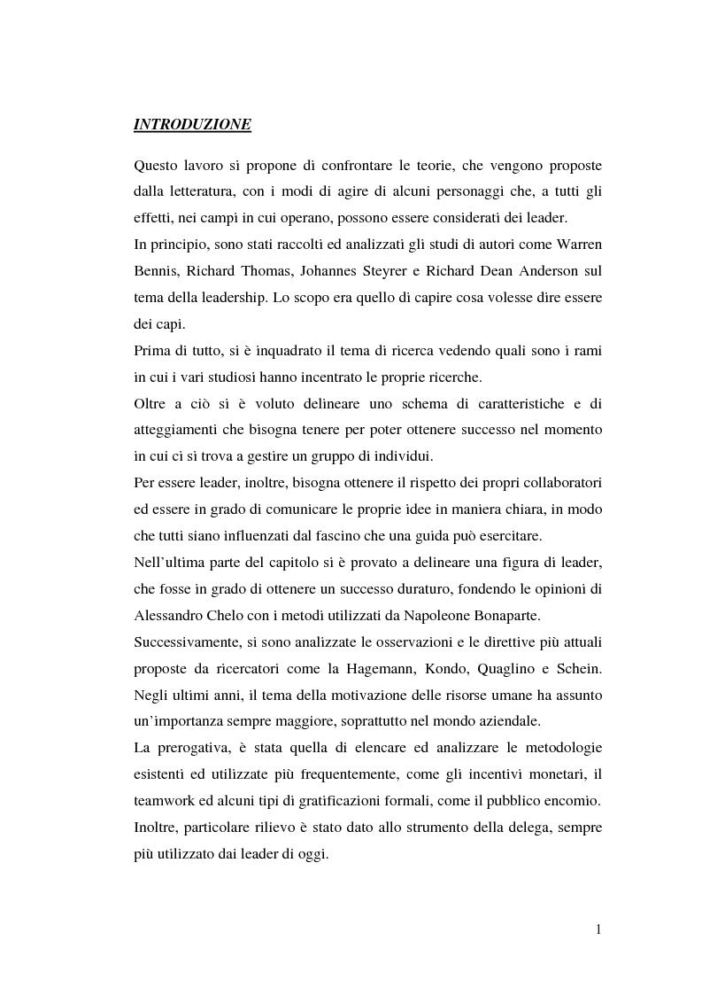 Anteprima della tesi: Leadership e motivazione, Pagina 1