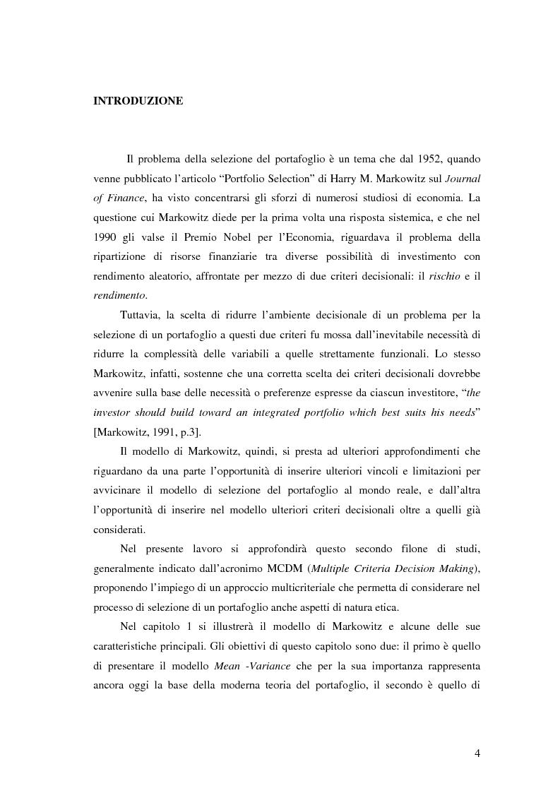 Anteprima della tesi: Approcci Multicriteriali per Problemi di Selezione di Portafoglio: un'applicazione alla Finanza Socialmente Responsabile, Pagina 1
