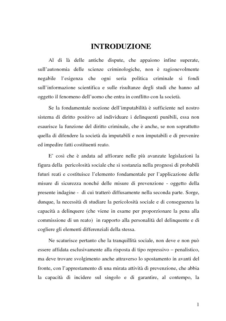 Anteprima della tesi: La pericolosità sociale - Qualità indizianti e prognosi criminale connessa all'applicazione delle misure di prevenzione, Pagina 1