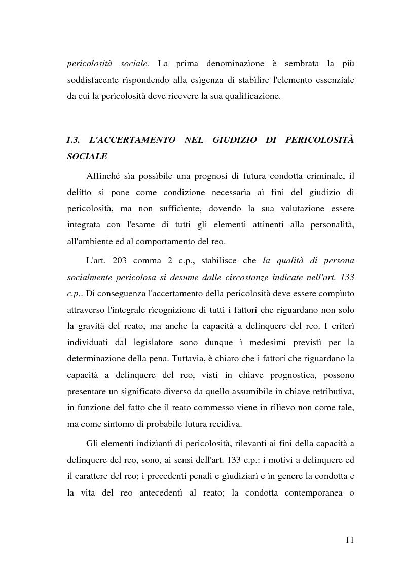 Anteprima della tesi: La pericolosità sociale - Qualità indizianti e prognosi criminale connessa all'applicazione delle misure di prevenzione, Pagina 11