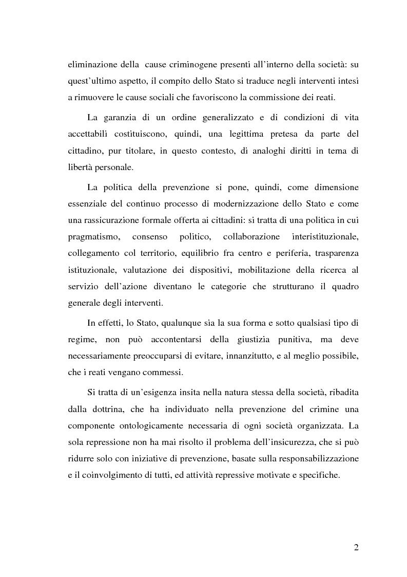 Anteprima della tesi: La pericolosità sociale - Qualità indizianti e prognosi criminale connessa all'applicazione delle misure di prevenzione, Pagina 2