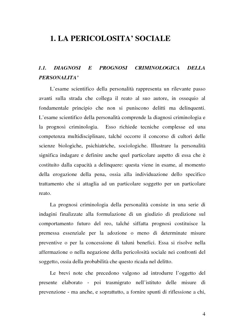 Anteprima della tesi: La pericolosità sociale - Qualità indizianti e prognosi criminale connessa all'applicazione delle misure di prevenzione, Pagina 4