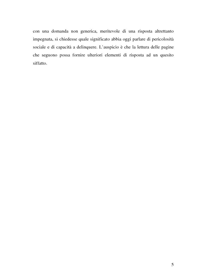 Anteprima della tesi: La pericolosità sociale - Qualità indizianti e prognosi criminale connessa all'applicazione delle misure di prevenzione, Pagina 5